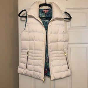 Lilly Pulitzer white puffer zip up vest